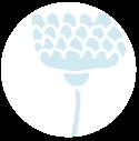 grafische bloem lichtblauw